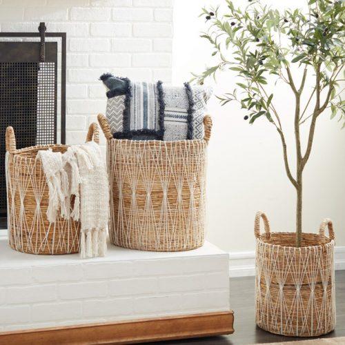 Banana+Leaf+3+Piece+Wicker+Basket+Set